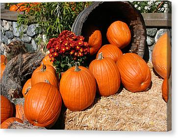 Canvas Print featuring the mixed media Pumpkins- Photograph By Linda Woods by Linda Woods