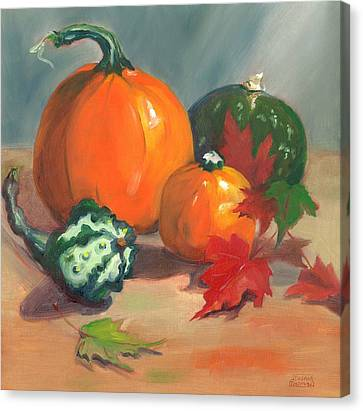 Canvas Print featuring the painting Pumpkins by Susan Thomas