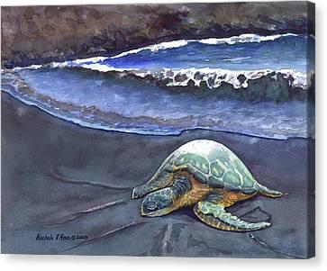 Punaluu Honu Beach Nap Canvas Print by Michele Ross
