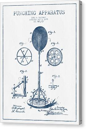 Punching Apparatus Patent Drawing From 1895 -  Blue Ink Canvas Print by Aged Pixel