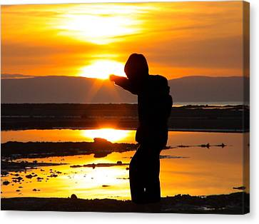 Canvas Print featuring the photograph Punching The Sun by RKAB Works