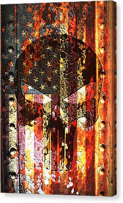 Punisher Skull On Rusted American Flag Canvas Print