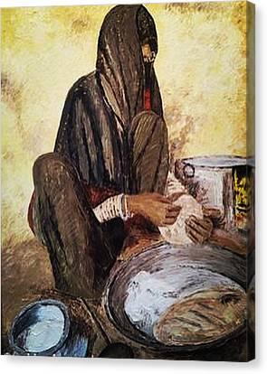 Sikh Art Canvas Print - Punjabi Woman Traditional  by Sukhpal Grewal