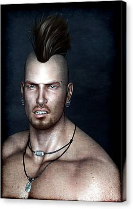 Canvas Print featuring the painting Punk Portrait by Maynard Ellis