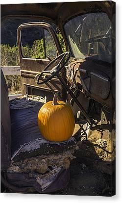 Truck Canvas Print - Punpkin On Old Truck Seat by Garry Gay