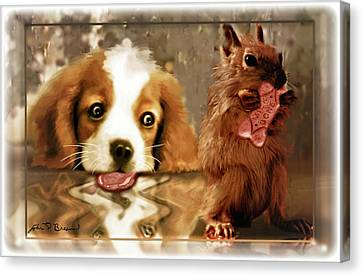 Pup And Squirrel Canvas Print by John Breen