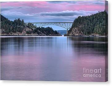 Oak Harbor Canvas Print - Purple Skies Over Deception Pass by Adam Jewell
