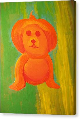 Pupmpkin Head Dog Canvas Print by Laurette Escobar