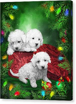 Dog Canvas Print - Puppies For Christmas by Carol Cavalaris