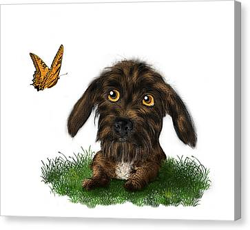 Puppy And Butterfly Canvas Print by Susan Carter