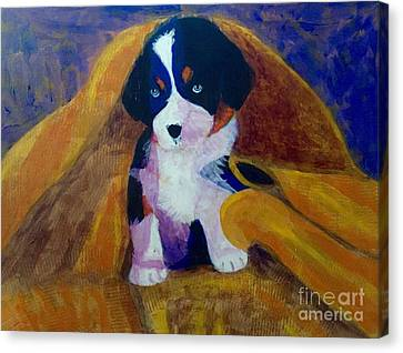 Canvas Print featuring the painting Puppy Bath by Donald J Ryker III