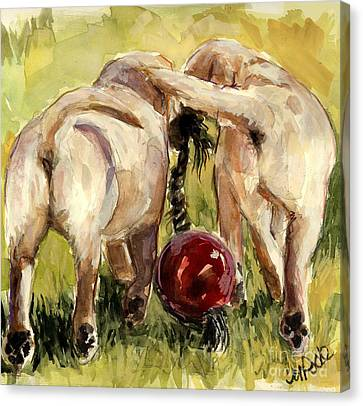 Puppy Butts Canvas Print by Molly Poole