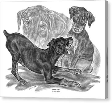 Puppy Love - Doberman Pinscher Pup Canvas Print by Kelli Swan