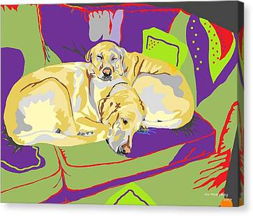 Puppy Pile Of Two Canvas Print by Su Humphrey
