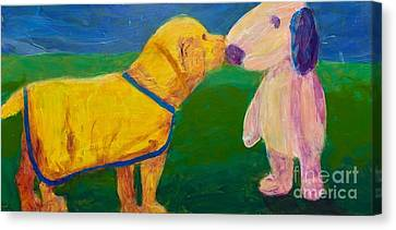 Canvas Print featuring the painting Puppy Say Hi by Donald J Ryker III