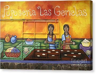Pupusa Twins El Salvador Canvas Print by John  Mitchell