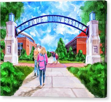 Canvas Print featuring the mixed media Purdue University - Gateway To The Future Arch by Mark Tisdale
