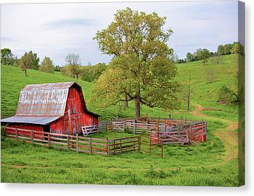 Canvas Print featuring the photograph Pure Arkansas - Red Barn by Gregory Ballos