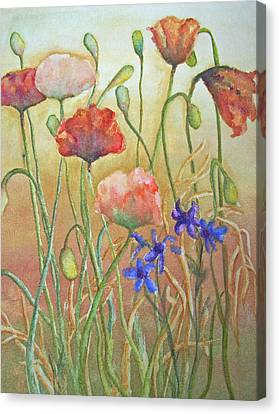 Canvas Print featuring the painting Purely Poppies by Sandy Collier