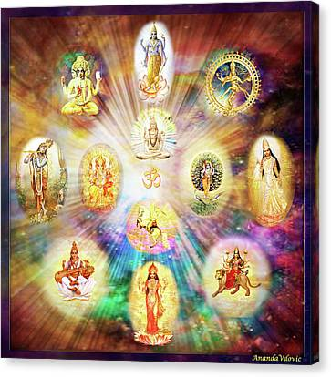 Purnamida Purnamidam - One Divine Source For All Gods And Goddesses Canvas Print by Ananda Vdovic