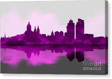 Landmarks Canvas Print - Purple Amsterdam by Prar Kulasekara