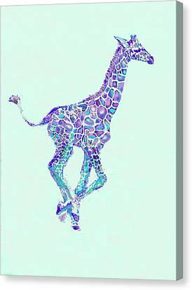 Purple And Aqua Running Baby Giraffe Canvas Print by Jane Schnetlage