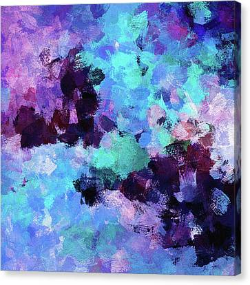 Canvas Print featuring the painting Purple And Blue Abstract Art by Ayse Deniz