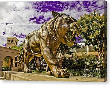 The Tiger Canvas Print - Purple And Gold by Scott Pellegrin