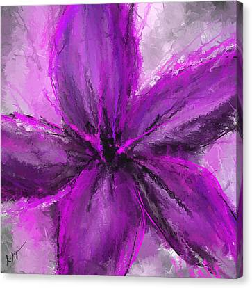 Purple And Gray Art Canvas Print by Lourry Legarde