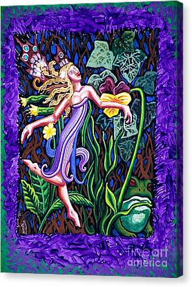 Flower Pink Fairy Child Canvas Print - Purple And Green Fairy by Genevieve Esson