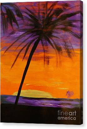 Purple And Orange Sky Canvas Print by Marie Bulger