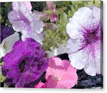Purple And Pink Petunias Oil Painting Canvas Print by Elaine Plesser