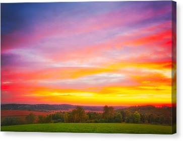 Purple And Red Fall Sunset At Retzer Nature Center - Wisconsin Canvas Print by Jennifer Rondinelli Reilly - Fine Art Photography