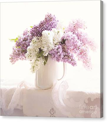 Canvas Print featuring the photograph Purple And White Lilacs Still Life by Sylvia Cook
