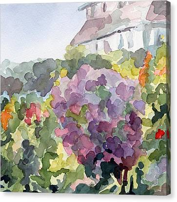 Purple Blossoms Monets Garden Watercolor Paintings Of France Canvas Print by Beverly Brown