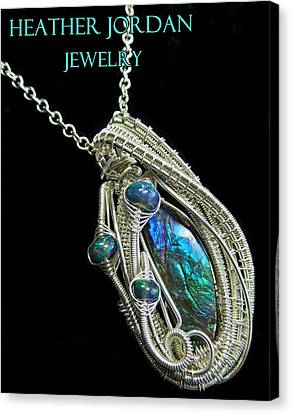 Purple Blue And Green Ammolite Wire-wrapped Pendant In Sterling Silver With Ethiopian Opals Amltpss3 Canvas Print by Heather Jordan