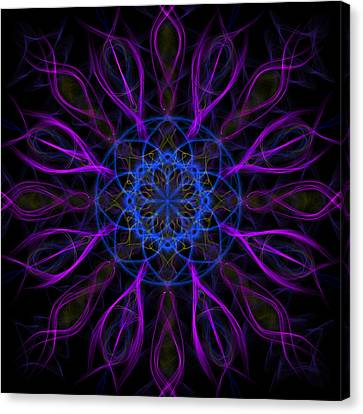 Canvas Print featuring the photograph Purple Blue Kaleidoscope Square by Adam Romanowicz