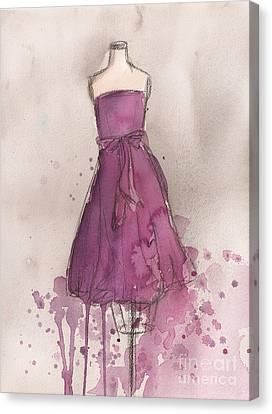Loose Watercolor Canvas Print - Purple Bow Dress by Lauren Maurer