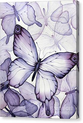 Purple Butterflies Canvas Print by Christina Meeusen