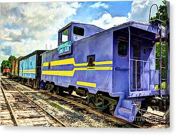 Purple Caboose Canvas Print by Mel Steinhauer