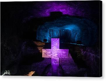 Purple Cross Blue Background Canvas Print