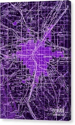 Purple Denver Antique Map Canvas Print
