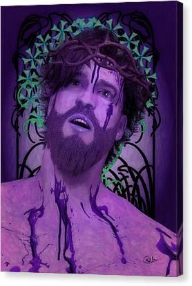 Crucifix Art Canvas Print - Purple Ecce Homo by Joaquin Abella