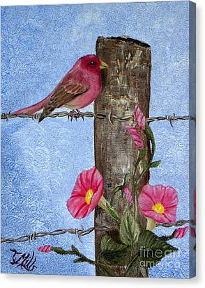 Canvas Print featuring the painting Purple Finch And Morning Glories by Terri Mills