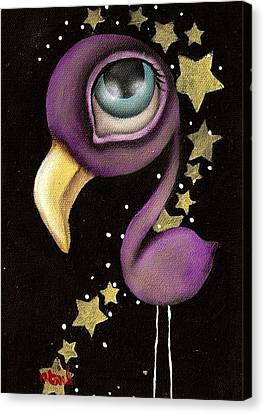 Purple Flamingo Canvas Print by  Abril Andrade Griffith