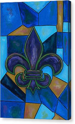 Purple Fleur De Lis Canvas Print by Patti Schermerhorn