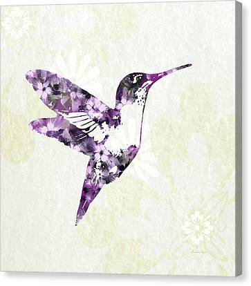 Purple Floral Hummingbird Art Canvas Print by Christina Rollo