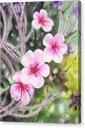 Canvas Print featuring the painting Purple Flowers In Golden Gate Park San Francisco by Irina Sztukowski
