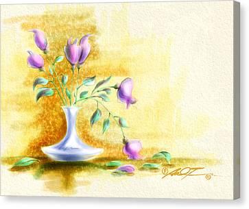 Purple Flowers In Vase Canvas Print