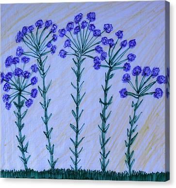 Purple Flowers On Long Stems Canvas Print
